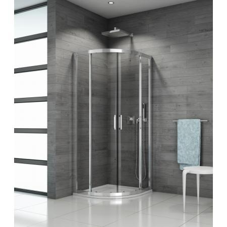Ronal Sanswiss Top-Line TOPR50 Kabina prysznicowa półokrągła 80x80x190 cm drzwi przesuwne, profile srebrny połysk szkło przezroczyste Aquaperle TOPR500805007