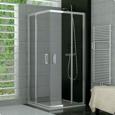 Ronal Sanswiss Top-Line Kabina prysznicowa asymetryczna narożna z drzwiami rozsuwanymi 80x190 cm drzwi prawe, profile białe szkło przezroczyste TOPD08000407