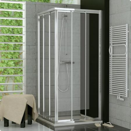 Ronal Sanswiss Top-Line Kabina prysznicowa narożna z drzwiami trzyczęściowymi rozsuwanymi 60-90xdo 190 cm drzwi lewe, profile białe szkło przezroczyste TOE3GSM10407