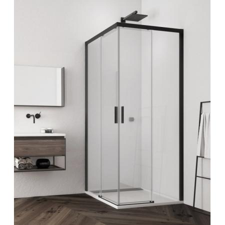 Ronal Sanswiss Top-Line S Black TLSAC Kabina prysznicowa narożna 90x90x200 cm drzwi przesuwne, profile czarny mat szkło przezroczyste Aquaperle TLSAC0900607