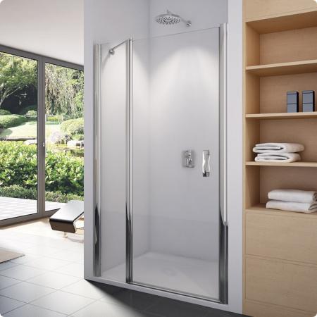 Ronal Sanswiss Swing-Line Drzwi jednoczęściowe ze ścianką stałą w linii 140x195 cm, profile srebrny mat szkło przezroczyste SL1314000107