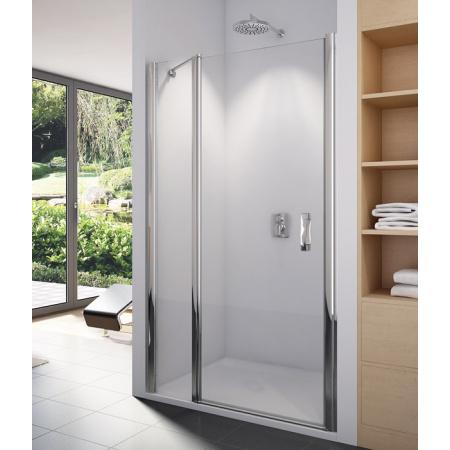 Ronal Swing-Line SL13 Drzwi prysznicowe jednoczęściowe ze ścianką stałą w linii 100x195 cm, profile srebrny mat szkło cieniowane niebieskie SL1310000154