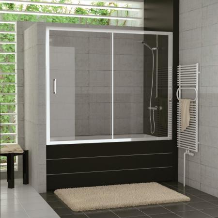 Ronal Sanswiss Top-Line TOPB2 Parawan nawannowy 2-częściowy 170x150 cm, profile srebrny połysk szkło przezroczyste Aquaperle TOPB217005007