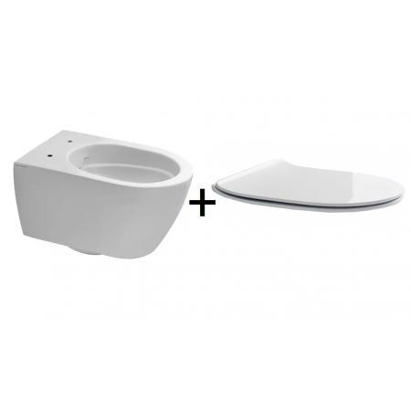 Scarabeo Moon Zestaw Toaleta WC 50,5x36 cm bez kołnierza + deska wolnoopadająca lava 5520CL37+5530B37