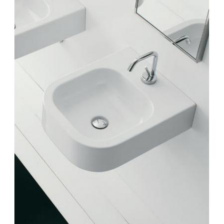 Scarabeo Next Umywalka wisząca lub nablatowa 41x50x13,5 cm, biała 8047/B