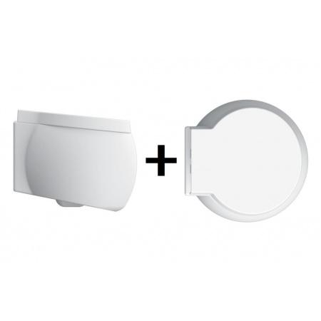Scarabeo Planet Zestaw Toaleta WC podwieszana 50x45 cm Clean Flush bez kołnierza z deską sedesową wolnoopadającą, biała 8105/CL+8108/B
