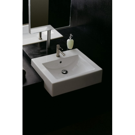 Scarabeo Square Umywalka półblatowa 51x46x16 cm, biała 8025/D