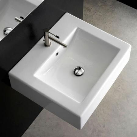Scarabeo Square Umywalka wisząca lub nablatowa 51x46x16 cm, biała 8025/B