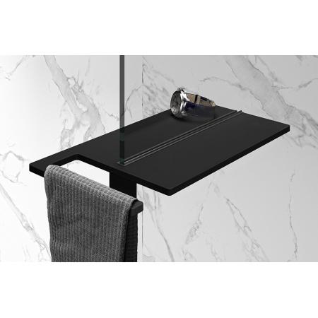 Huppe Select+ Organizer Shower Board na zacisk Półka pod prysznic z wieszakiem na ręcznik 40x22 cm, czarna Black Edition SL2401123