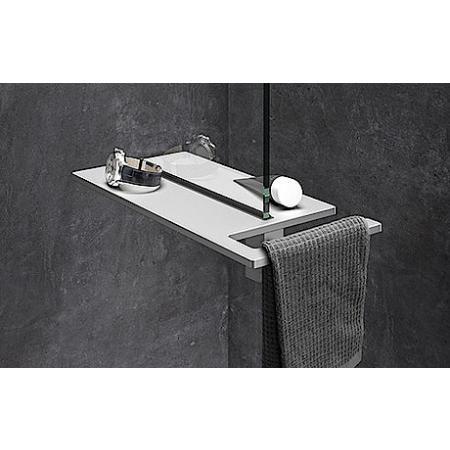 Huppe Select+ Organizer Shower Board na zacisk Półka pod prysznic z wieszakiem na ręcznik 40x22 cm, srebrna matowa SL2401087