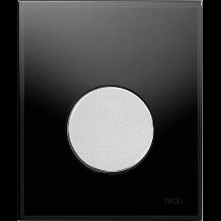 Tece Loop Przycisk spłukujący do pisuaru szklany, szkło czarne, przyciski chrom matowy 9242655