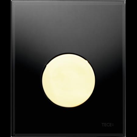 Tece Loop Przycisk spłukujący do pisuaru szklany, szkło czarne, przyciski złote 9242658