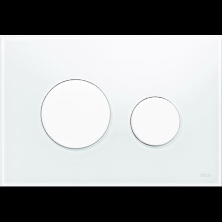 Tece Loop Przycisk spłukujący do WC szklany, szkło białe, przyciski białe 9240650
