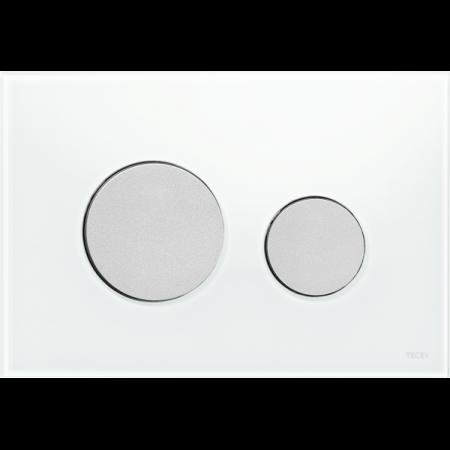 Tece Loop Przycisk spłukujący do WC szklany, szkło białe, przyciski chrom matowy 9240659