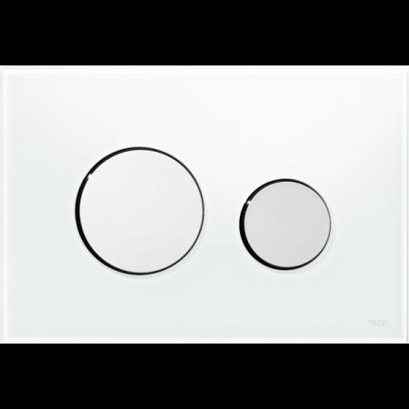 Tece Loop Przycisk spłukujący do WC szklany, szkło białe, przyciski chrom połysk 9240660