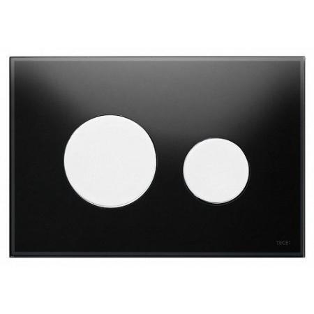 Tece Loop Przycisk spłukujący do WC szklany, szkło czarne, przyciski białe 9240654