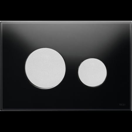 Tece Loop Przycisk spłukujący do WC szklany, szkło czarne, przyciski chrom matowy 9240655