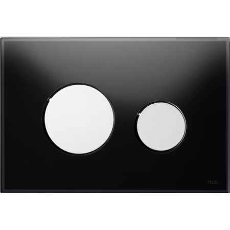 Tece Loop Przycisk spłukujący do WC szklany, szkło czarne, przyciski chrom połysk 9240656