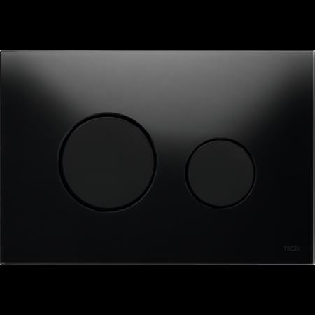 Tece Loop Przycisk spłukujący do WC szklany, szkło czarne, przyciski czarne 9240657