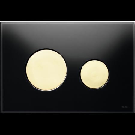 Tece Loop Przycisk spłukujący do WC szklany, szkło czarne, przyciski złote 9240658