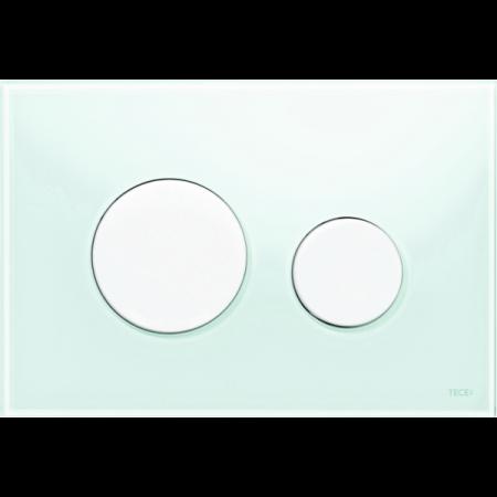 Tece Loop Przycisk spłukujący do WC szklany, szkło zielone, przyciski białe 9240651
