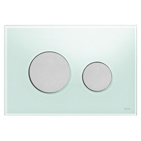 Tece Loop Przycisk spłukujący do WC szklany, szkło zielone, przyciski chrom matowy 9240652
