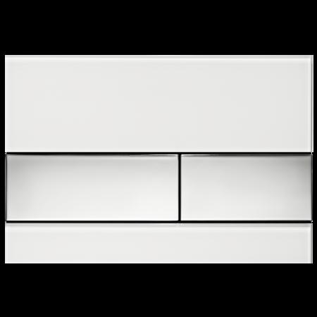 Tece Square Przycisk spłukujący do WC szklany, szkło białe, przyciski chrom połysk 9240802