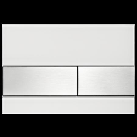 Tece Square Przycisk spłukujący do WC szklany,  białe, przyciski stal szlachetna 9240801