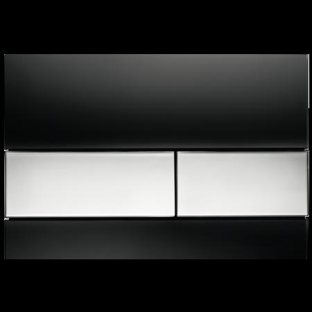 Tece Square Przycisk spłukujący do WC szklany,  czarne, przyciski chrom połysk 9240807