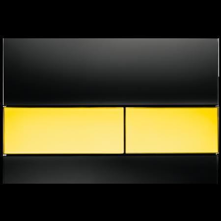 Tece Square Przycisk spłukujący do WC szklany,  czarne, przyciski złote 9240808