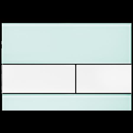 Tece Square Przycisk spłukujący do WC szklany,  zielone, przyciski białe 9240803