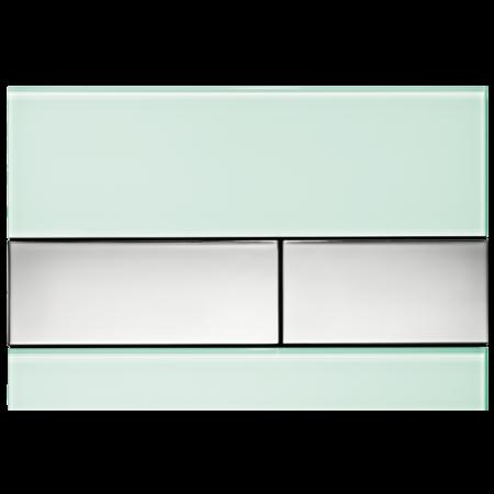 Tece Square Przycisk spłukujący do WC szklany,  zielone, przyciski chrom połysk 9240805