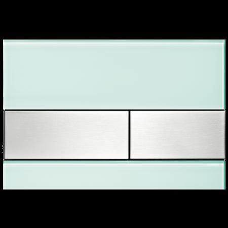 Tece Square Przycisk spłukujący do WC szklany,  zielone, przyciski stal szlachetna 9240804
