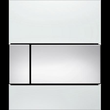 Tece Square Przycisk spłukujący do pisuaru szklany,  białe, przyciski chrom połysk 9242802