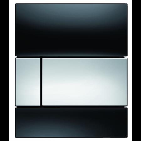 Tece Square Przycisk spłukujący do pisuaru szklany, szkło czarne, przyciski chrom połysk 9242807