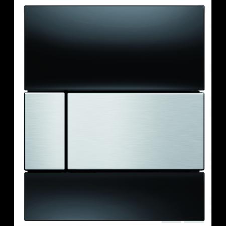 Tece Square Przycisk spłukujący do pisuaru szklany, szkło czarne, przyciski stal szlachetna 9242806