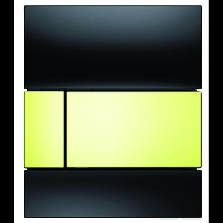 Tece Square Przycisk spłukujący do pisuaru szklany, szkło czarne, przyciski złote 9242808