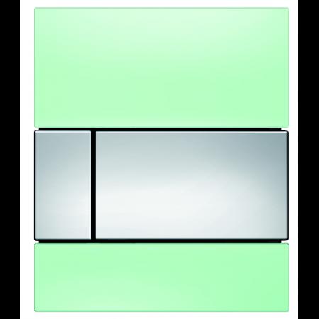 Tece Square Przycisk spłukujący do pisuaru szklany, szkło zielone, przyciski chrom połysk 9242805