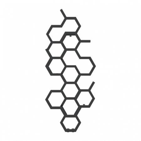 Terma Hex Grzejnik pionowy 122x48,6 cm podłączenie ZX czarny Soft 9005 WGH2X122048KS95ZX