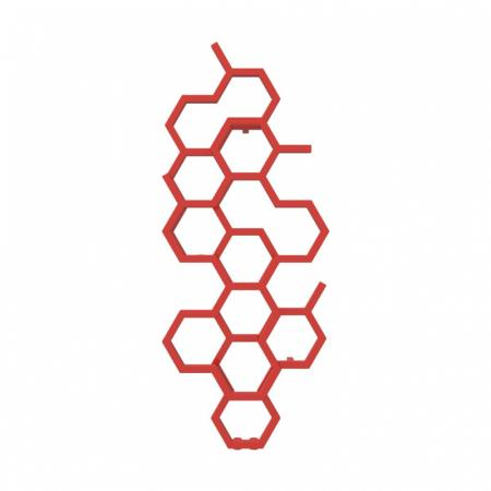 Terma Hex Grzejnik pionowy 122x48,6 cm podłączenie ZX czerwony WGH2X122048KS38ZX
