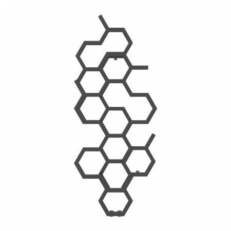 Terma Hex Grzejnik pionowy 122x48,6 cm podłączenie ZX metallic black WGH2X122048KMBCZX
