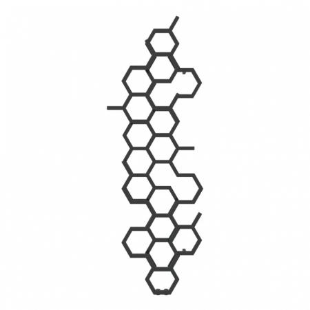 Terma Hex Grzejnik pionowy 170x57,3 cm podłączenie ZX czarny Soft 9005 WGH2X170057KS95ZX