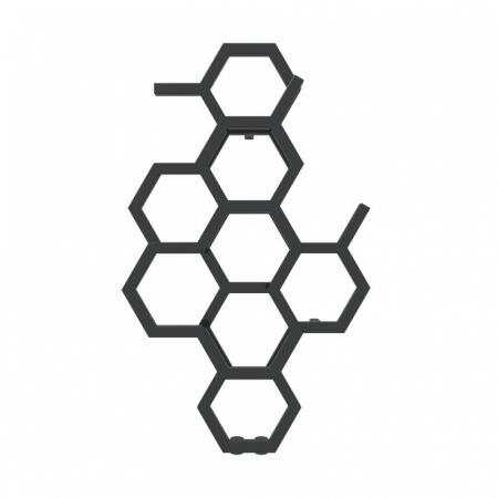 Terma Hex Grzejnik pionowy 82,1x48,6 cm podłączenie ZX czarny Soft RAL 9005 WGH2X082048KS95ZX