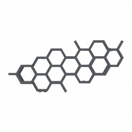 Terma Hex Grzejnik poziomy 50,2x112,6 cm podłączenie YL anodic black WGH2X050112KABCYL