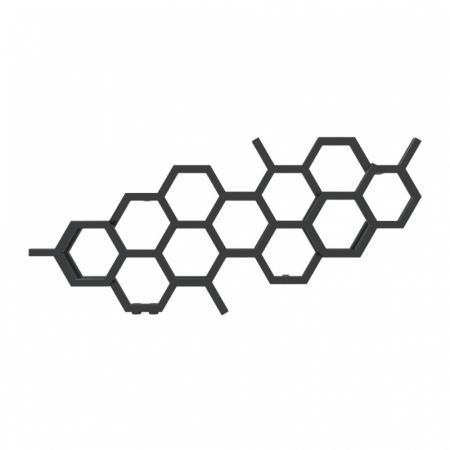 Terma Hex Grzejnik poziomy 50,2x112,6 cm podłączenie YL czarny RAL 9005 mat WGH2X050112K9M5YL