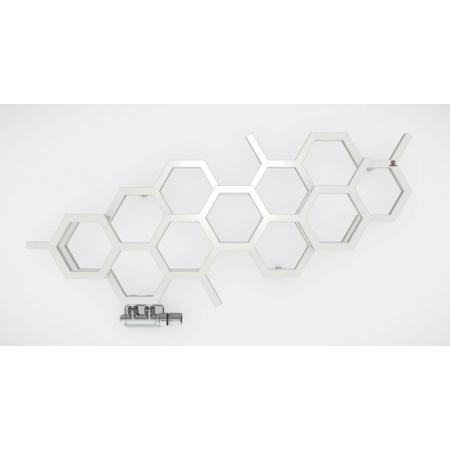Terma Hex Poziomy Grzejnik łazienkowy 42,2x71,1 cm podłączenie YP prawy, biały RAL 9016 WGH2X042071K916YP