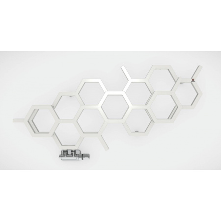 Terma Hex Poziomy Grzejnik łazienkowy 50,2x112,6 cm podłączenie YL lewy, biały RAL 9016 WGH2X050112K916YL