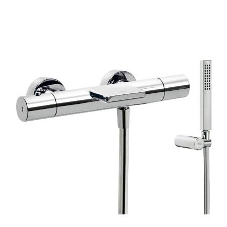 Tres Class-Tres Bateria wannowo-prysznicowa termostatyczna ścienna z pokrętłem z kaskadową wylewką, chrom 205.174.01.9