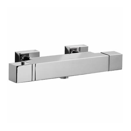 Tres Cuadro-Tres Dwuuchwytowa bateria wannowo-prysznicowa termostatyczna natynkowa z pokrętłem, chrom 1.07.174