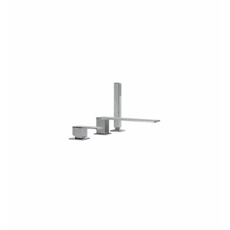 Tres Cuadro Exclusive Jednouchwytowa bateria wannowo-prysznicowa 3-otworowa stojąca z dźwignią, stalowa 006.161.05.AC